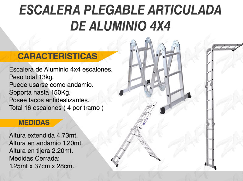 Escalera de aluminio 4 7mts articulada plegable enviamos for Escalera aluminio plegable easy