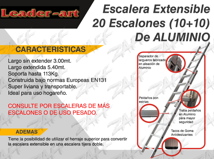 Escalera de aluminio extensible 20 escalones zaff bulonera for Precio de escalera extensible de aluminio